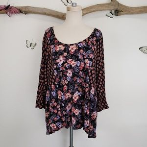 Chelsea28 floral tunic contrasting floral sleeves